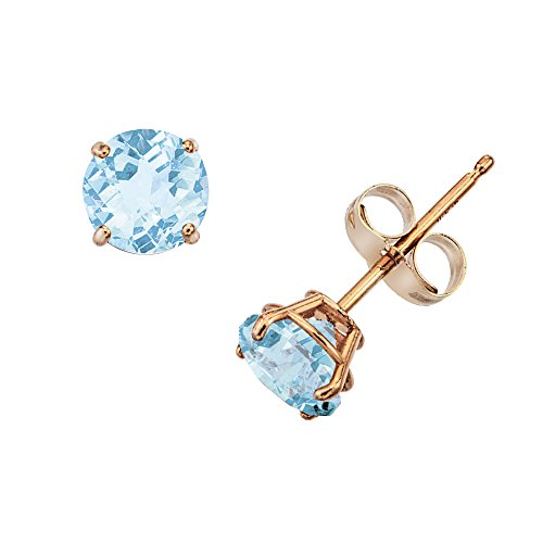 14k Genuine Aquamarine Earrings - 14k Gold Genuine .50ct TW Aquamarine March Birthstone Girls Earrings