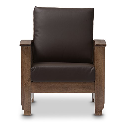 Baxton Studio Chalice Modern Classic Mission Style Walnut Wood Dark Brown Faux Leather 1 Seater Lounge Chair ()