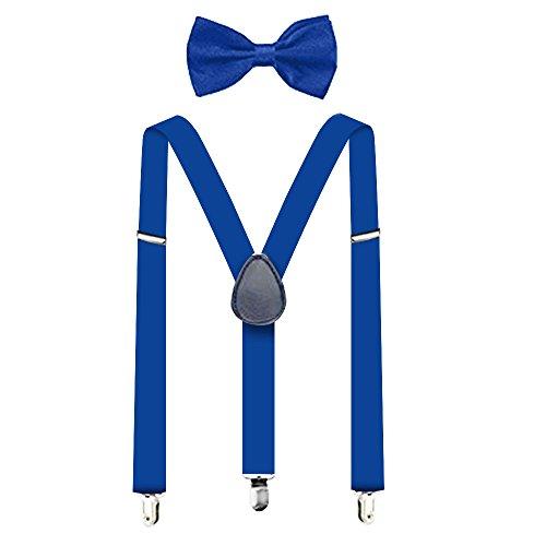 Suspenders For Men,Women Adjustable Suspends Bow Tie Set Solid Color Y Shape (Blue) -