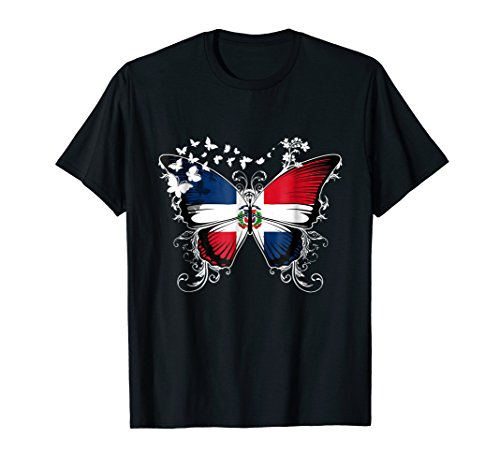 - Dominican Republic Flag Shirt Butterfly Graphic T Shirt