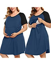 MONNURO Women's Plus Size Labor and Delivery Gown Nursing Nightgown Maternity Sleepwear Dress for Breastfeeding