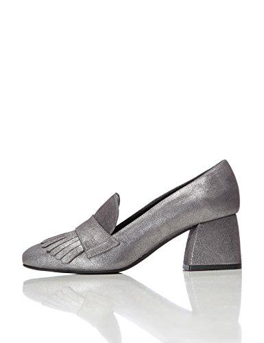 FIND Mocasines con Tacón para Mujer Plateado (Silver)