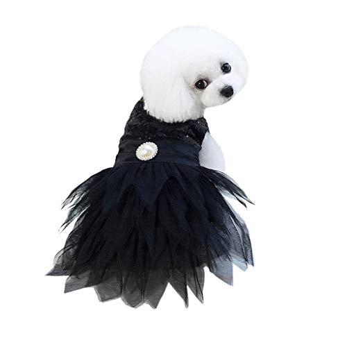 (Wakeu Small Dog Girl Dress Pet Puppy Lace Tutu Stripe Vest Shirt Clothes (XS, F-Black))