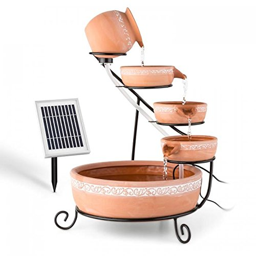 BLUMFELDT Empoli Outdoor Solar Powered Cascade Fountain 5-Tier Terracota Bowls LED Lights 2W Solar Panel 2000mAh Battery Elegant Mediterranean Finish (Fountain Five Leaf)