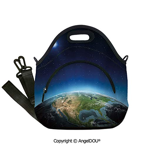 AngelDOU Earth lightweight Portable Picnic tote lunch Bags North America Continent on Globe Earth Galaxy Milky Way Realistic View Decorative student cute girls mummy bag.12.6x12.6x6.3(inch) ()