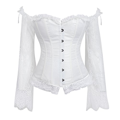 lttcbro Women's Sexy Off Shoulder Lace Corset Victorian Steampunk Corset White XL ()
