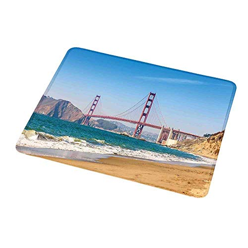 Rectangle Non-Slip Rubber Mouse Pad Landscape,Panoramic View of Golden Gate Bridge San Francisco Coastline Nature Seascape,Blue Turquoise,Mousepad Great for Laptop,Computer 9.8