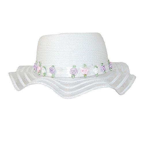 CTM® Girls Dressy 2.5 Inch Wave Brim Easter Bonnet Hat, White