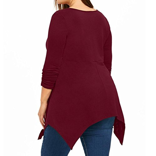 Toimoth Large Size Women Ladies Zipper Lace T-Shirt Long Sleeve Tops Blouse(Red,XL) by Toimoth Tops (Image #3)