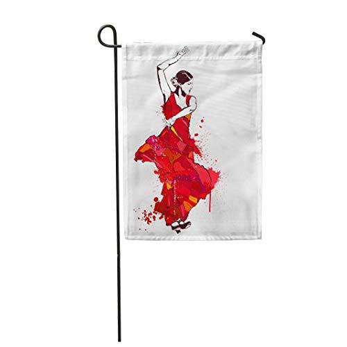 Semtomn Garden Flag Colorful Vintage Spanish Girl in Red Dress Dances Flamenco 12