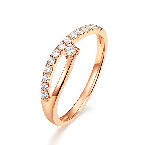 Price comparison product image AMDXD Jewelry Women 18k Gold Right Hand Rings Hoop Round Diamond Rose Gold Ring Size 4