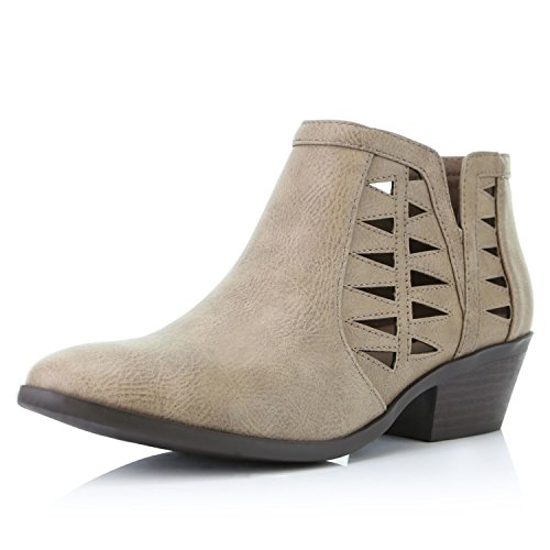 DailyShoes Women's Western Cowboy Bootie - Ultra Comfortable and Soft Lining Slip on Low Heel Cowgirl Closed Pointed Toe Boot,...