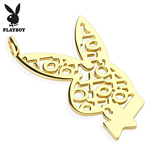 (West Coast Jewelry Playboy Logo XOXO Gold IP 316L Surgical Steel Bunny Pendant (Sold Ind.) )