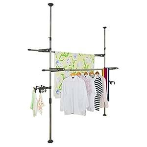 Amazon.com: BAOYOUNI balcón techo ropa rack de secado para ...