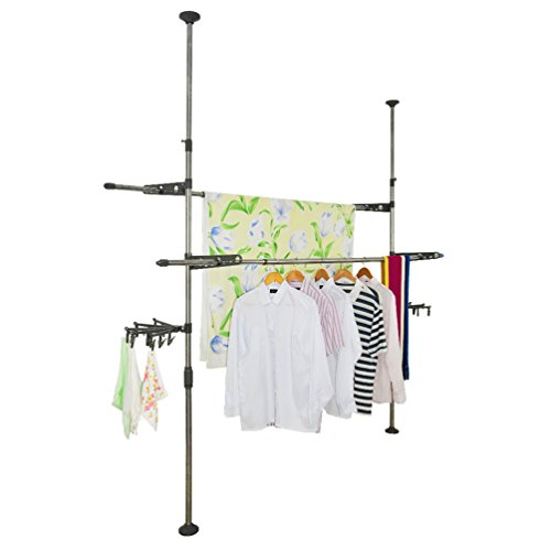 Baoyouni Adjustable Indoor Garment Rack DIY Coat Clothes Han