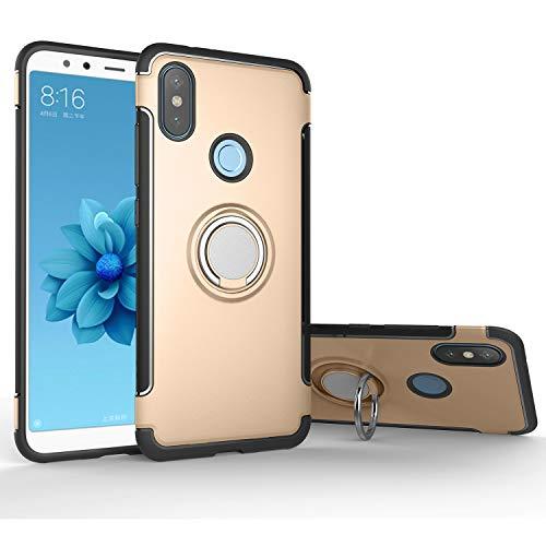 Xiaomi Mi A2 / 6X Case, Rotating Ring Mingwei [ 360 ° Kickstand] Carbon Fiber [Dual Shockproof] Protection Cover Compatible [Magnetic Car Mount] Xiaomi Mi A2 (Gold, Mi A2)