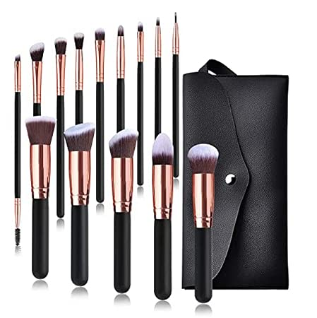 Makeup brushes, premium collection, concealer, foundation, eyeshadow, SM makeup brush set, rose gold with wooden handle, 16 pieces