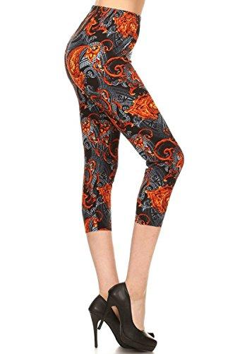 Capri Swirl - R833-CA-PLUS Mixed Paisley Capri Print Leggings, Plus Size