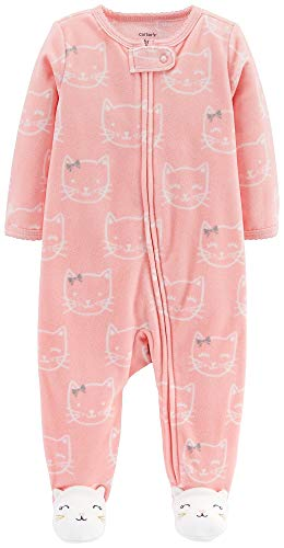 Carter's Baby Girls' Snowman Fleece Pajama (Pink Kitties, 3 Months)
