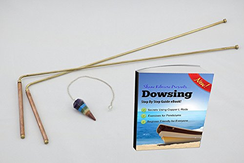 Copper Dowsing L Rods Kit: Chakra Pendulum and eBook Included