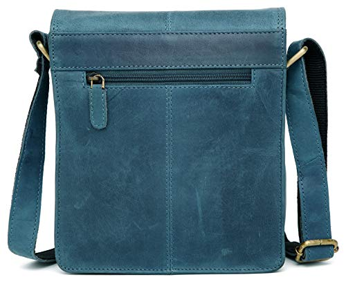 Work Leather Blue Everyday Hunter 100 Messenger Genuine Crossover Distressed Leather Bag Tablet Vintage Real Handmade Pure Shoulder Flapover Mens qUwOp