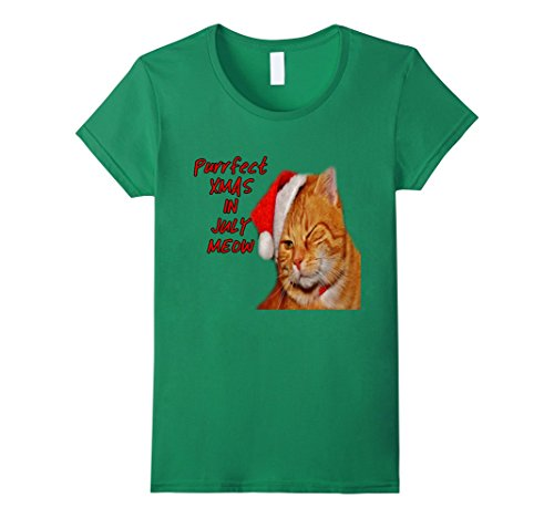 In July Christmas Costumes (Womens Cat Christmas T Shirt Purrfect in July XL Kelly)