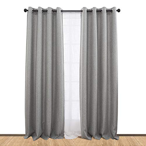 jinchan Linen Textured Blackout Curtains for Bedroom Room Darkening Window Drapes for Living Room Curtain Single Panel 84-Inch Grey (Single Panel Curtain)