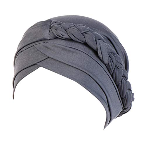 Dressin Muslim Caps Women's Elegant Stretch Flower Solid Color Turban Chemo Cancer Cap Hat Headwear Gray