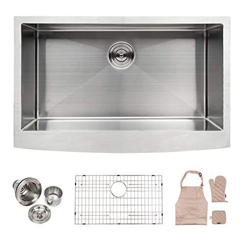 Gloves 10' Satin (LORDEAR LA3621R1 Bar Sink Commercial 36 Inch Farmhouse Apron Single Bowl 16-gauge 10 Inch Deep Stainless Steel Kitchen Sink)