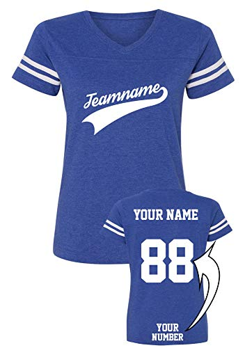 Custom Women's V-Neck Jersey for Team Apparel with Unique Design - Baseball Add Your Name Number Shirts ()