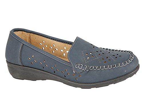 Azul Damas Mocasín Shoe Mocasín Tamaño 3 Faro plano de Cuero marino imitación Tree Zapato Mocasín 8 r6rqw0x