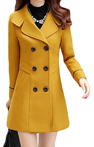 JWK Women's Double-breasted Slim Solid Wool-Blend Winter Pea Coats Yellow Large