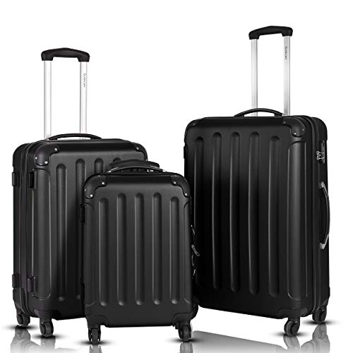 Goplus 3Pcs Luggage Set, Hardside Travel Rolling Suitcase, 20/24/28 Rolling Luggage Upright, Hardshell Spinner Luggage Set with Telescoping Handle, Coded Lock Travel Trolley Case (Black)