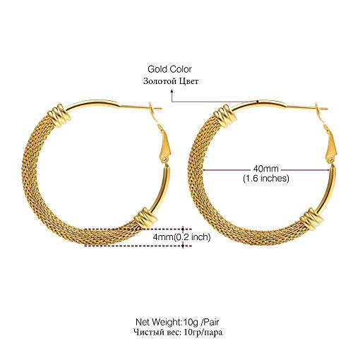 Hoop Earrings Simple Fancy Jewelry Stainless Steel Gold Color Big Thick Circle Tube Hoop Earrings for Women Size 40Mm E3440 (18K Gold Plated)