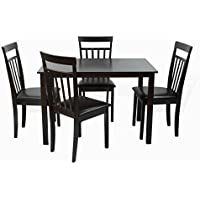 Dining Kitchen 5 Pc SET Rectangular Table and 4 Warm Chairs in Black Espresso Finish