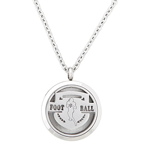 Football Premium Felt - Aromatherapy Essential Oil Diffuser Pendant Necklace for Football Fans with 20