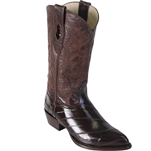 (Los Altos Mens EEL Skin J-Toe Boot, Brown, Size 10 EE US)