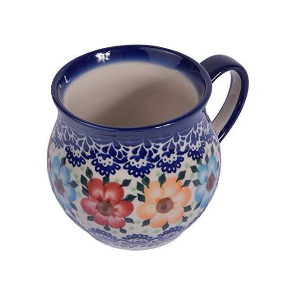Traditional Polish Pottery, Handcrafted Ceramic Bubble Mug (350ml), Boleslawiec Style Pattern, Q.502.BLUELACE