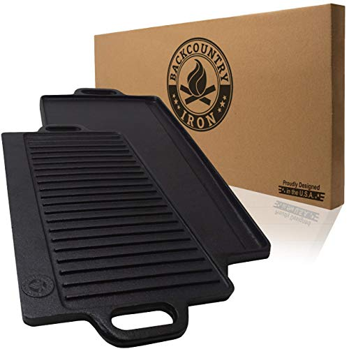 Backcountry Cast Iron Skillet 20×10 Large Reversible Grill Griddle, Pre-Seasoned for Non-Stick Like Surface, Cookware Oven Broiler Grill Safe, Kitchen Deep Fryer, Restaurant Chef Quality