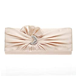 Satin Pleated Crystal Clutch