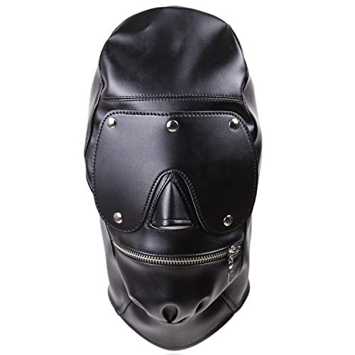 Leather Costume Head Mask Hood - Cosplay Leather Mask Full Face Mask Nose Holes Breathable Unisex Halloween Masquerade Mask for $<!--$22.99-->