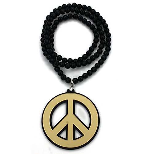 Baoyi Jewelry Acrylic Mirror Peace Sign Pendants Bead Necklace Hip-hop Pendant Piece Bead Chain Good Wood Style for Men (gold) (Necklace Peace Gold)