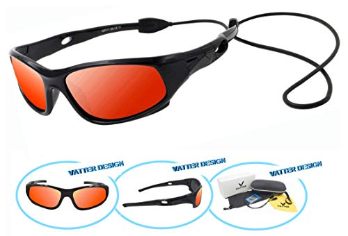 VATTER TR90 Unbreakable Polarized Sport Sunglasses For Kids Boys Girls Youth 816blackredlenses
