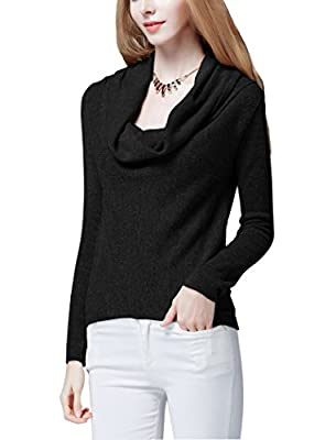 Women's Cowl Neck Oversized Long Sleeve Stretch Pullover Sweater Knit Top
