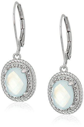 Pearl Rope Earrings (Sterling Silver Oval Rope White Mother-of-Pearl Over Baby Blue-Topaz Doublet and Diamond Accent Drop)