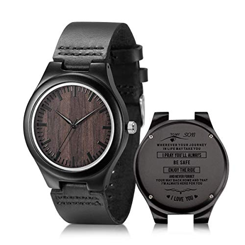 to My Son Engraved Watch, Black Leather Strap Handmade Ebony Wooden Natural Custom Wood Watch for Son ()