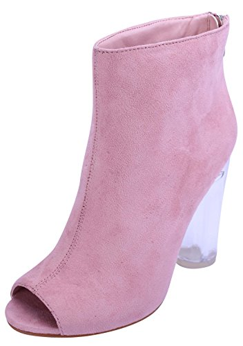 Glaze Women's Peep Toe Clear See Through Lucite Perspex Chunky Heel Ankle Bootie (7.5 B(M) US, - Pink Transparent Boots