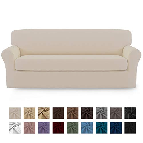 Easy-Going 2 Pieces Microfiber Stretch Sofa Slipcover – Spandex Soft Fitted Sofa Couch Cover, Washable Furniture Protector with Elastic Bottom for Kids,Pet (Oversized Sofa,Beige)