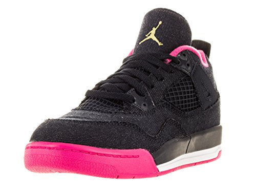 Nike Jordan Kids Jordan 4 Retro Gp Drk Obsdn/Mtllc Gld/Vvd Pnk/Wh Basketball Shoe 11.5 Kids US by Jordan
