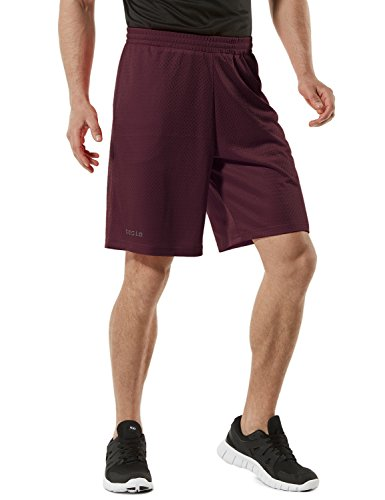 Tesla TM-MBS02-BCK_Small Men's Cool Mesh Basketball Shorts Smooth HyperDri with Pockets MBS02 ()